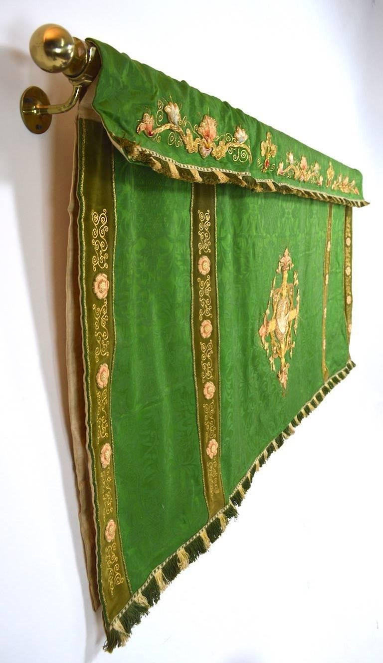 Decorative Tapestry on Brass Rod For Sale 3