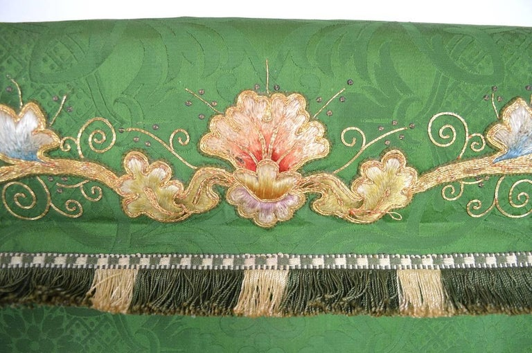 20th Century Decorative Tapestry on Brass Rod For Sale