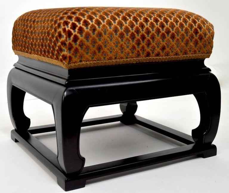 Art Deco Pair of Asia Modern Chinese Style Ottoman Footrest Stools For Sale