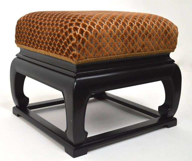 American Pair of Asia Modern Chinese Style Ottoman Footrest Stools For Sale