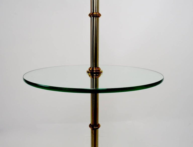 Neoclassical Revival Floor Table Lamp with Glass Shelf For Sale