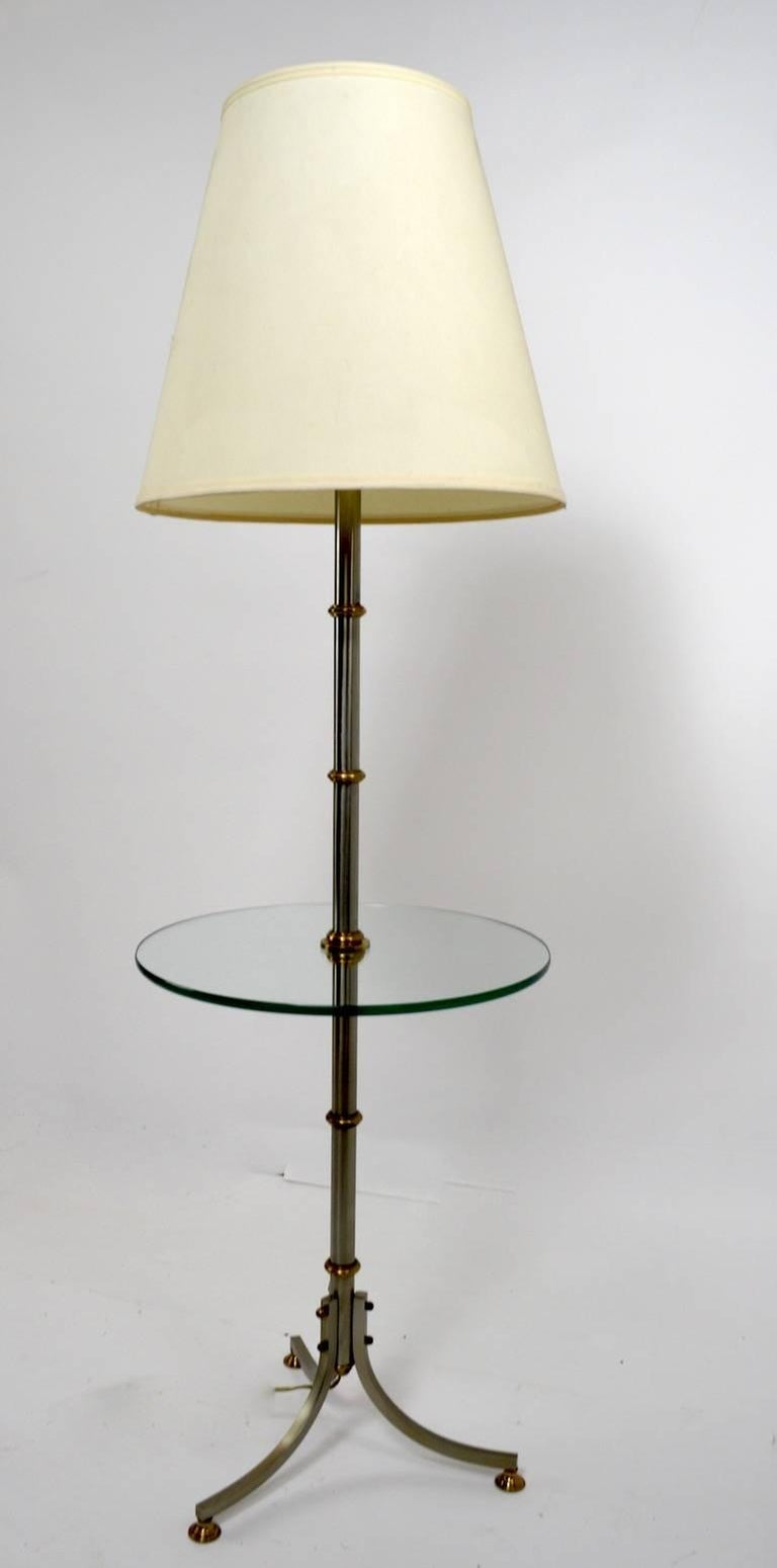 20th Century Floor Table Lamp with Glass Shelf For Sale