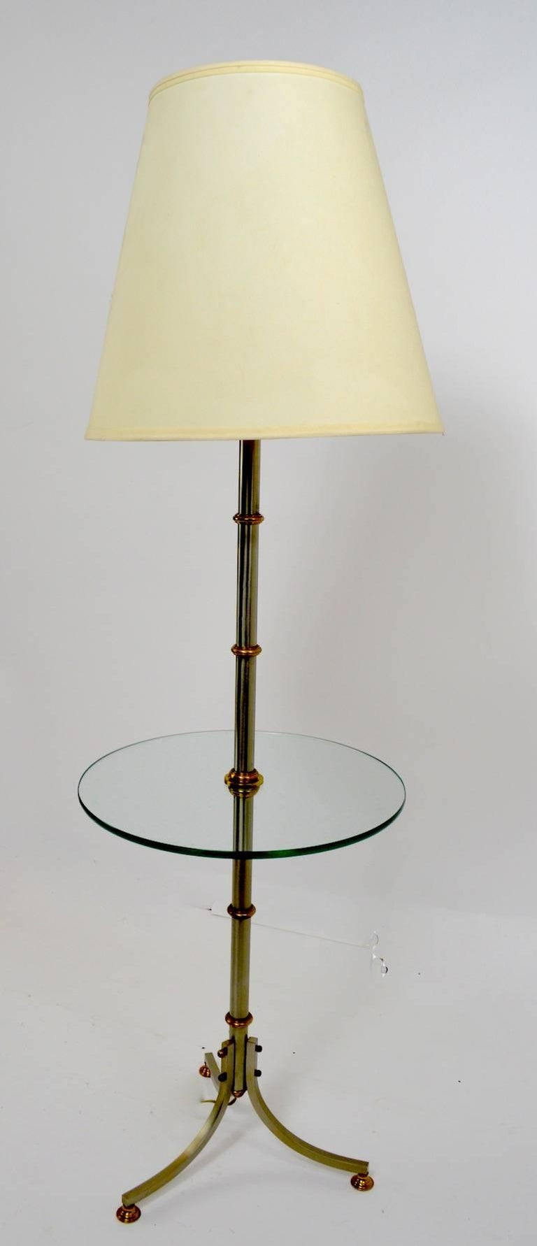 Floor Table Lamp with Glass Shelf In Good Condition For Sale In New York, NY