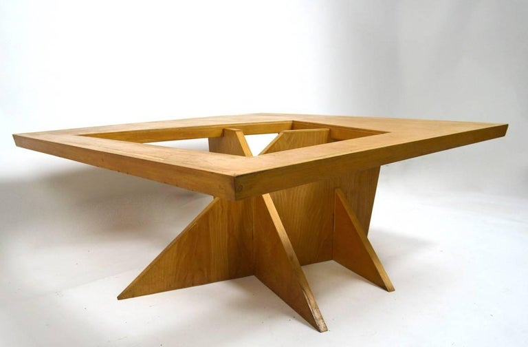 American One of a Kind Birch and Glass Coffee Table For Sale