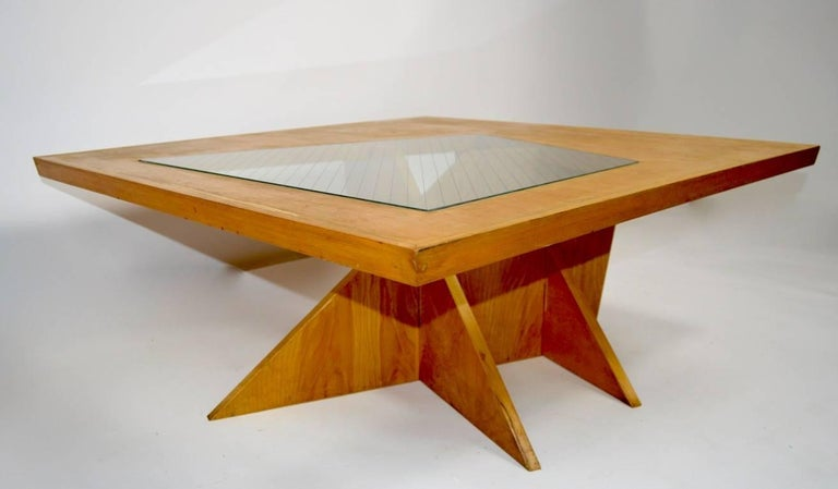 One of a Kind Birch and Glass Coffee Table In Good Condition For Sale In New York, NY
