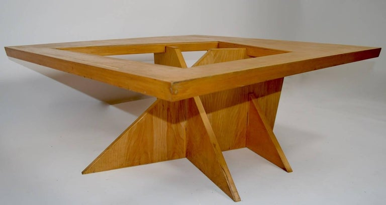 Mid-Century Modern One of a Kind Birch and Glass Coffee Table For Sale