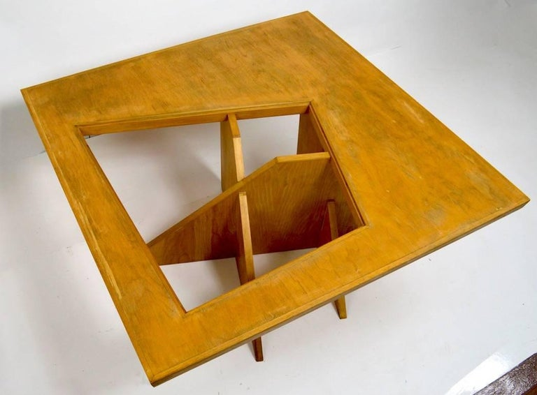 Interesting one of a kind coffee table, designed in 1984 as an entry in the Knockdown Furniture Design competition NYC, 1984. This table won 1st prize, it was designed by the then art director of Ogilvy & Mather, and constructed by her husband. The