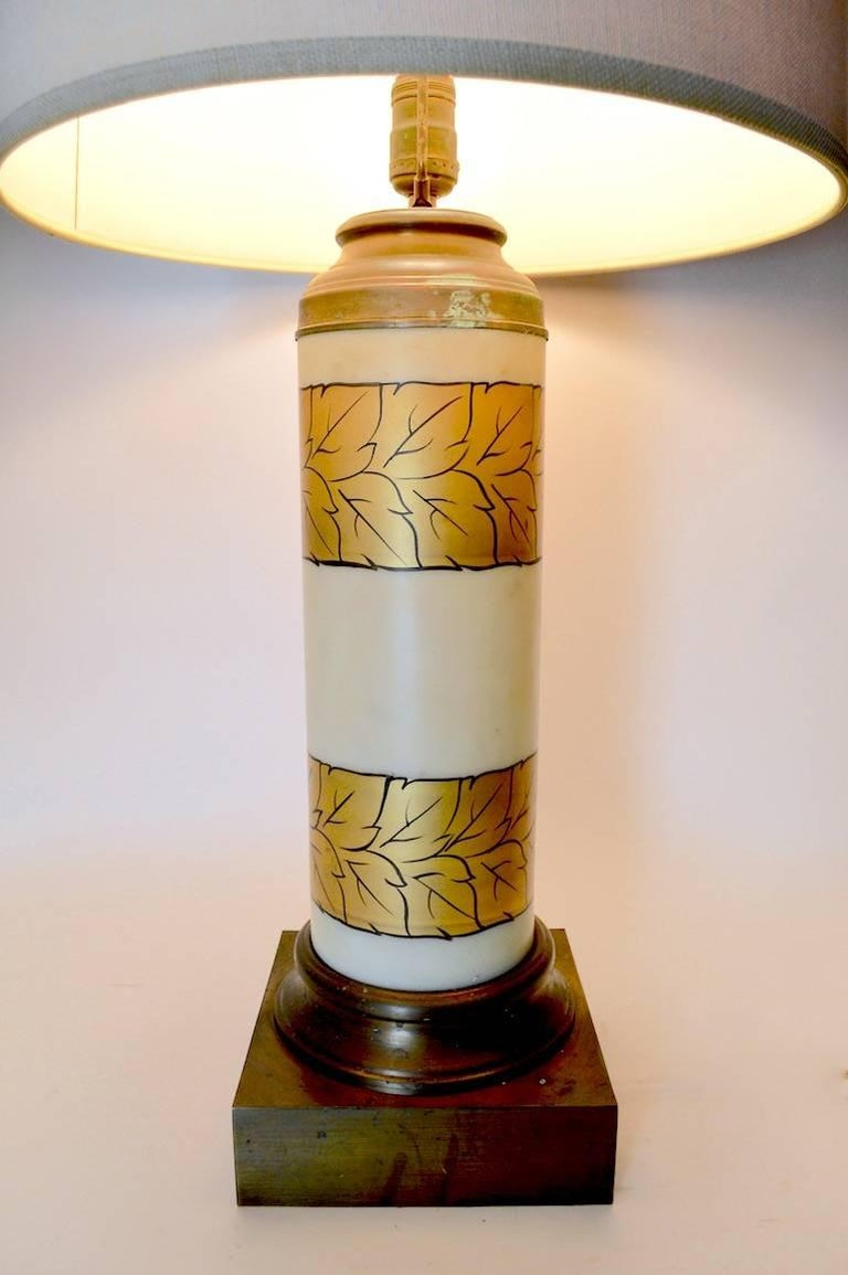 20th Century Pair of Gold Decorated Glass Table Lamps For Sale