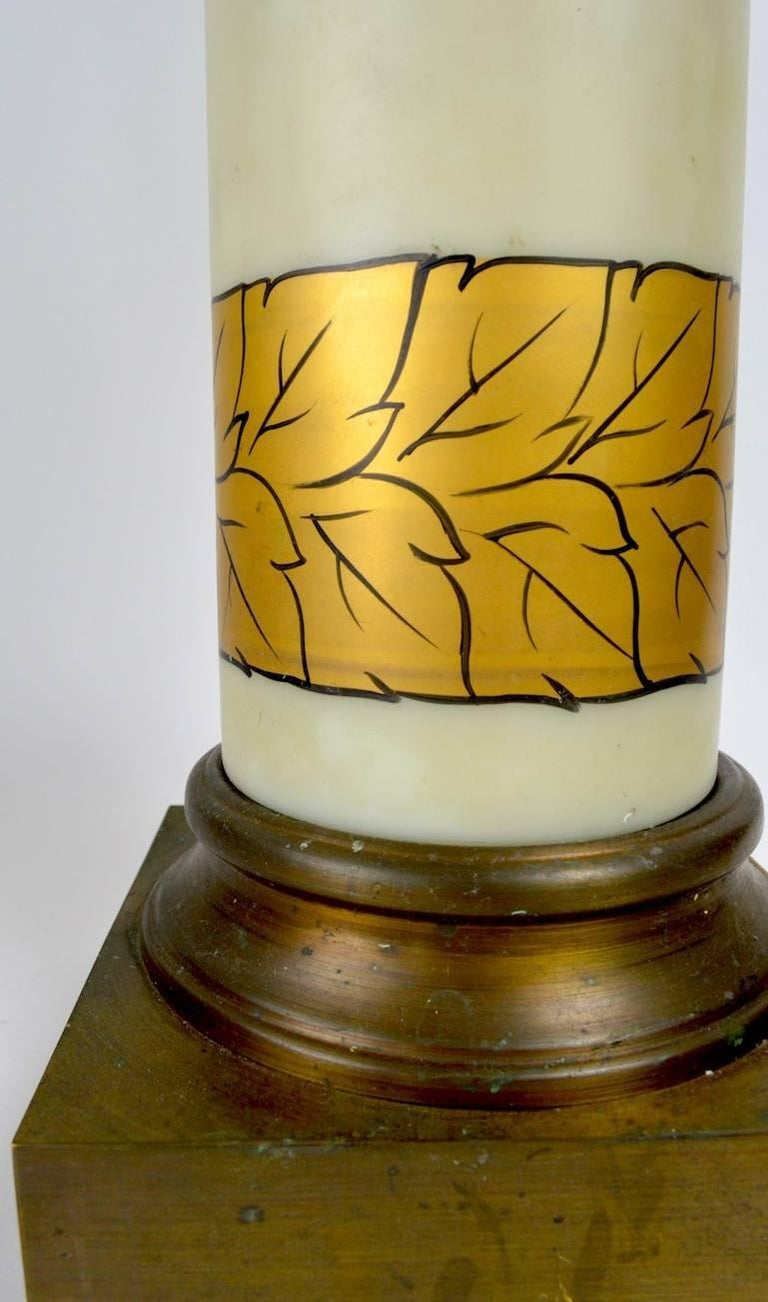 American Pair of Gold Decorated Glass Table Lamps For Sale