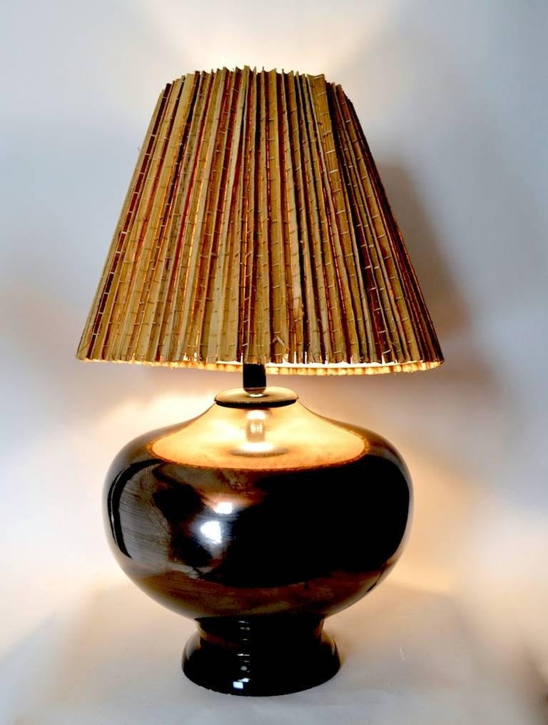 20th Century Large Mid Century Metallic Glaze Table Lamp For Sale