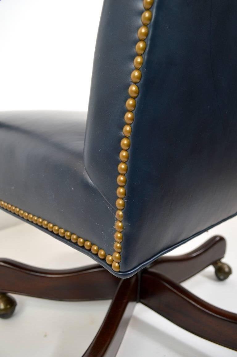 Leather Swivel Desk Chair by Hancock and Moore For Sale 2
