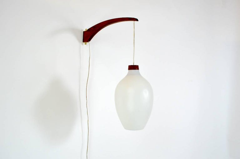 Luxus Wall Sconce with Frosted White Shade In Good Condition For Sale In New York, NY