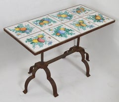Italian Tile Top Table with Wrought Iron Base