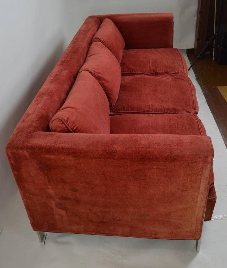 American Chrome and Velvet Sofa Attributed to Baughman For Sale