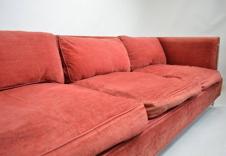 Chrome and Velvet Sofa Attributed to Baughman For Sale 2