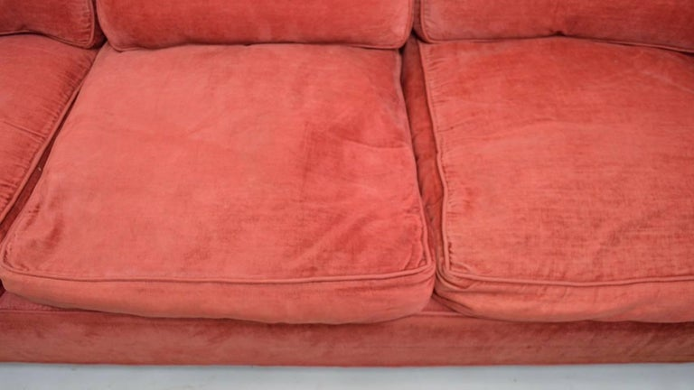 Chrome and Velvet Sofa Attributed to Baughman For Sale 1