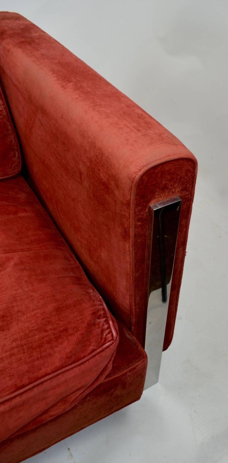 20th Century Chrome and Velvet Sofa Attributed to Baughman For Sale