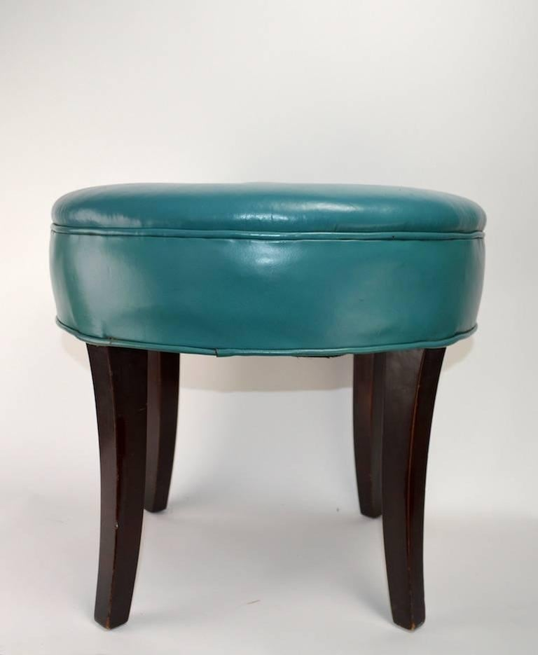 Phenomenal Vanity Stool Pouf In Original Turquoise Leather Upholstery Alphanode Cool Chair Designs And Ideas Alphanodeonline