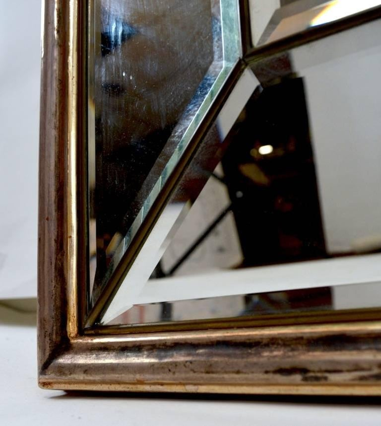 20th Century Cathedral Mirror with Silver Gilt Frame Made in Italy For Sale