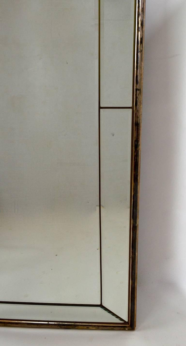 Neoclassical Revival Cathedral Mirror with Silver Gilt Frame Made in Italy For Sale
