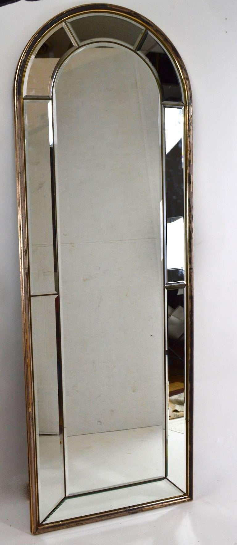 Cathedral Mirror with Silver Gilt Frame Made in Italy For Sale 2