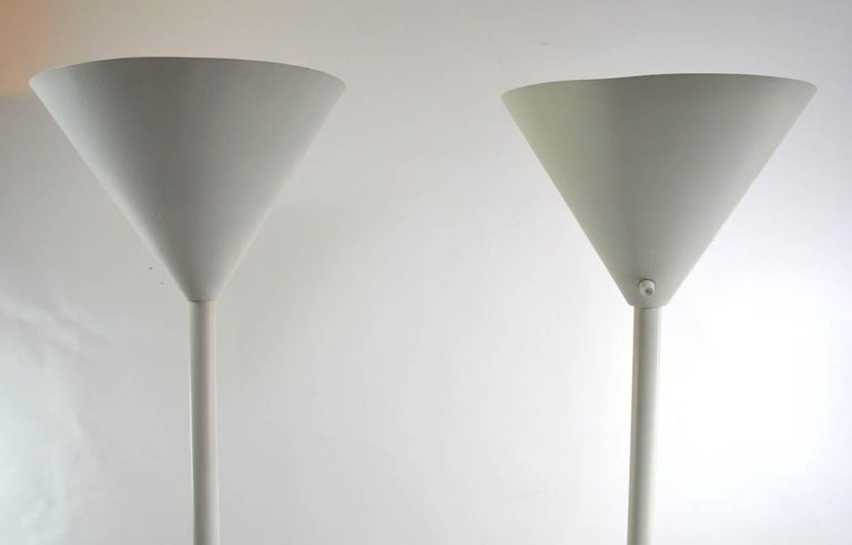 Pair of Lightolier Torcheres in White on White Finish For Sale 2
