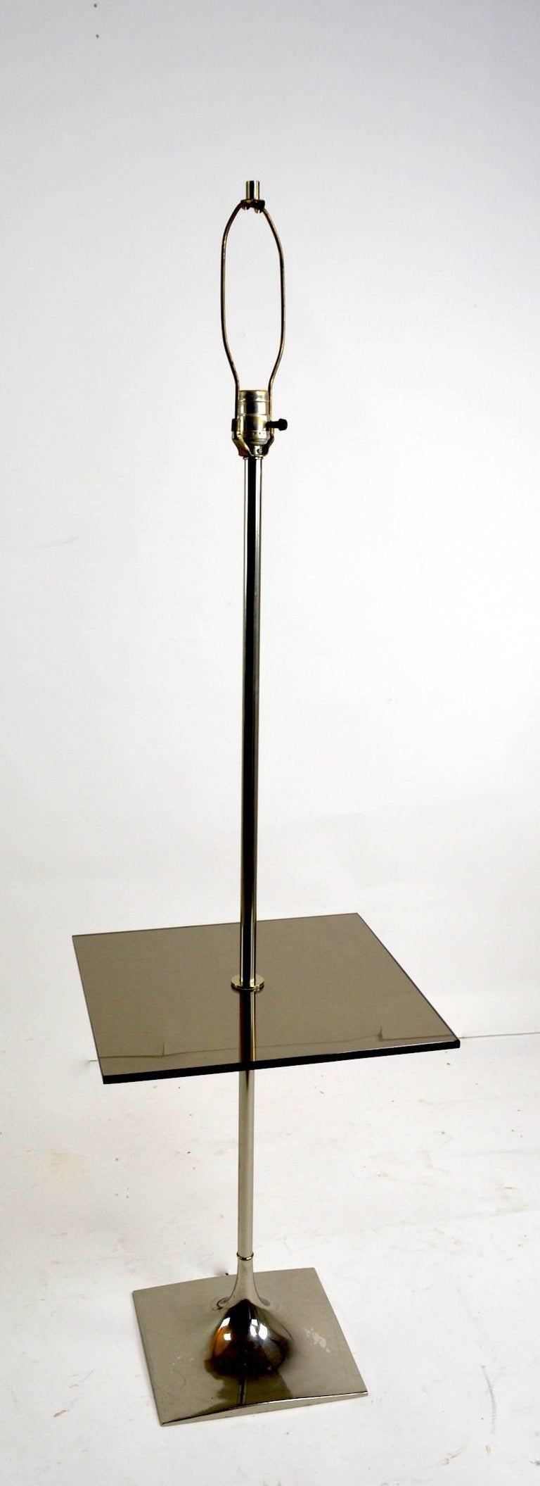 Smoked Glass Floor Table Lamp by Laurel For Sale