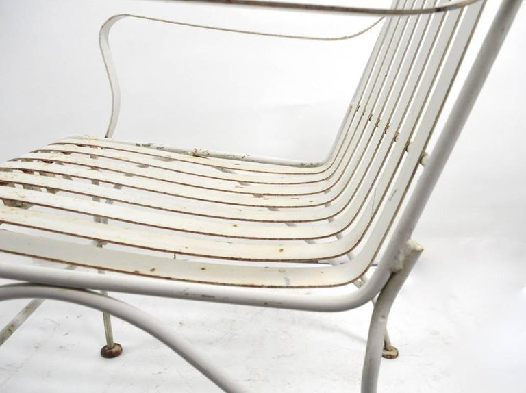 Set of Four Matching Garden Patio Metal Armchairs In Good Condition For Sale In New York, NY