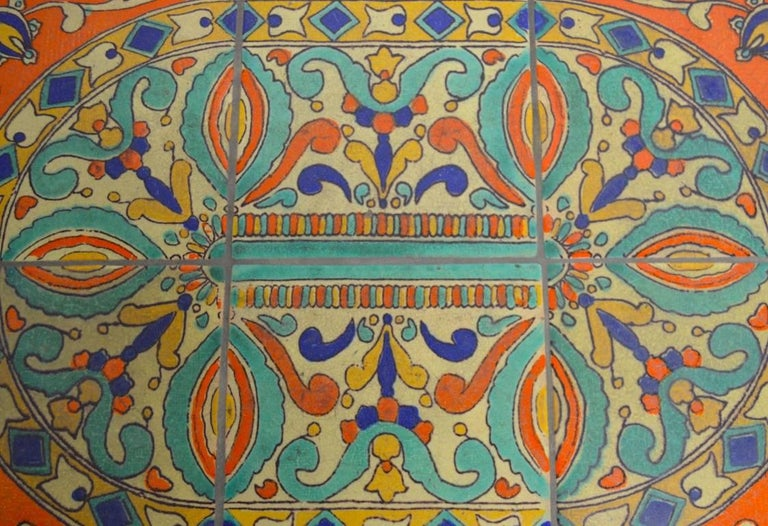 Arts and Crafts Tile Top Wrought Iron Base Table Attributed to Catalina Pottery For Sale