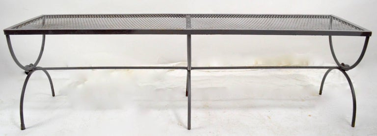 Mid-Century Modern Iron Garden Bench by Woodard For Sale