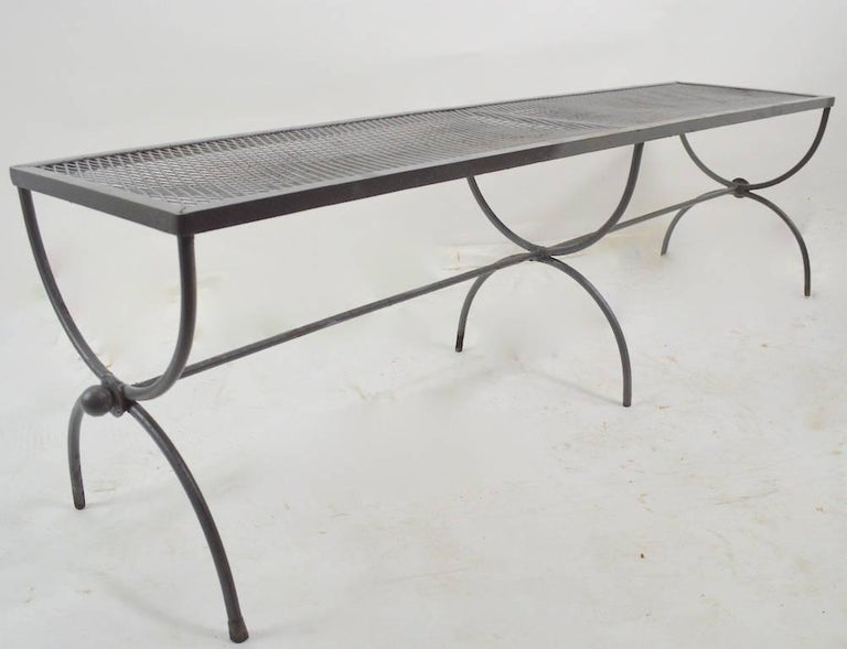 Iron Garden Bench by Woodard In Good Condition For Sale In New York, NY