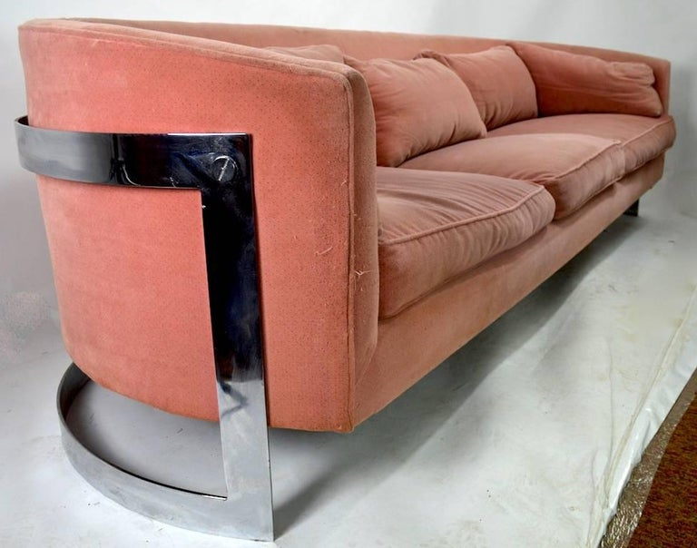 Chrome Strap Sofa Attributed to Milo Baughman For Sale 3