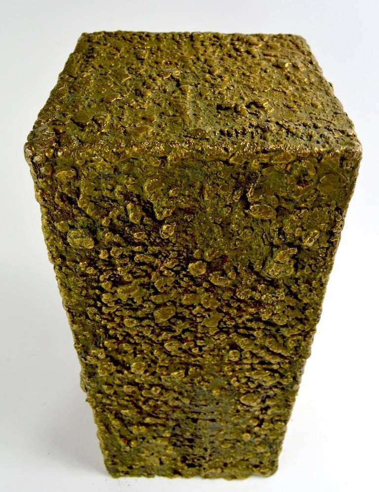 Brutalist Bronze Sculpture Vase Pedestal Attributed to Paul Evans For Sale 1