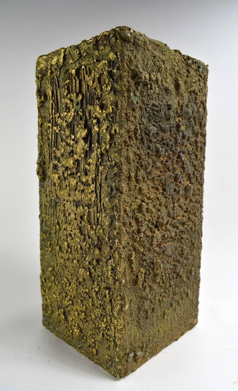 Wonderful Brutalist bronze vase, turn it over and it's a pedestal, or it stands alone as a sculpture. Dimensional textural surface with great untouched patina the quality and sophistication of this item suggests it is by Paul Evans, however it is