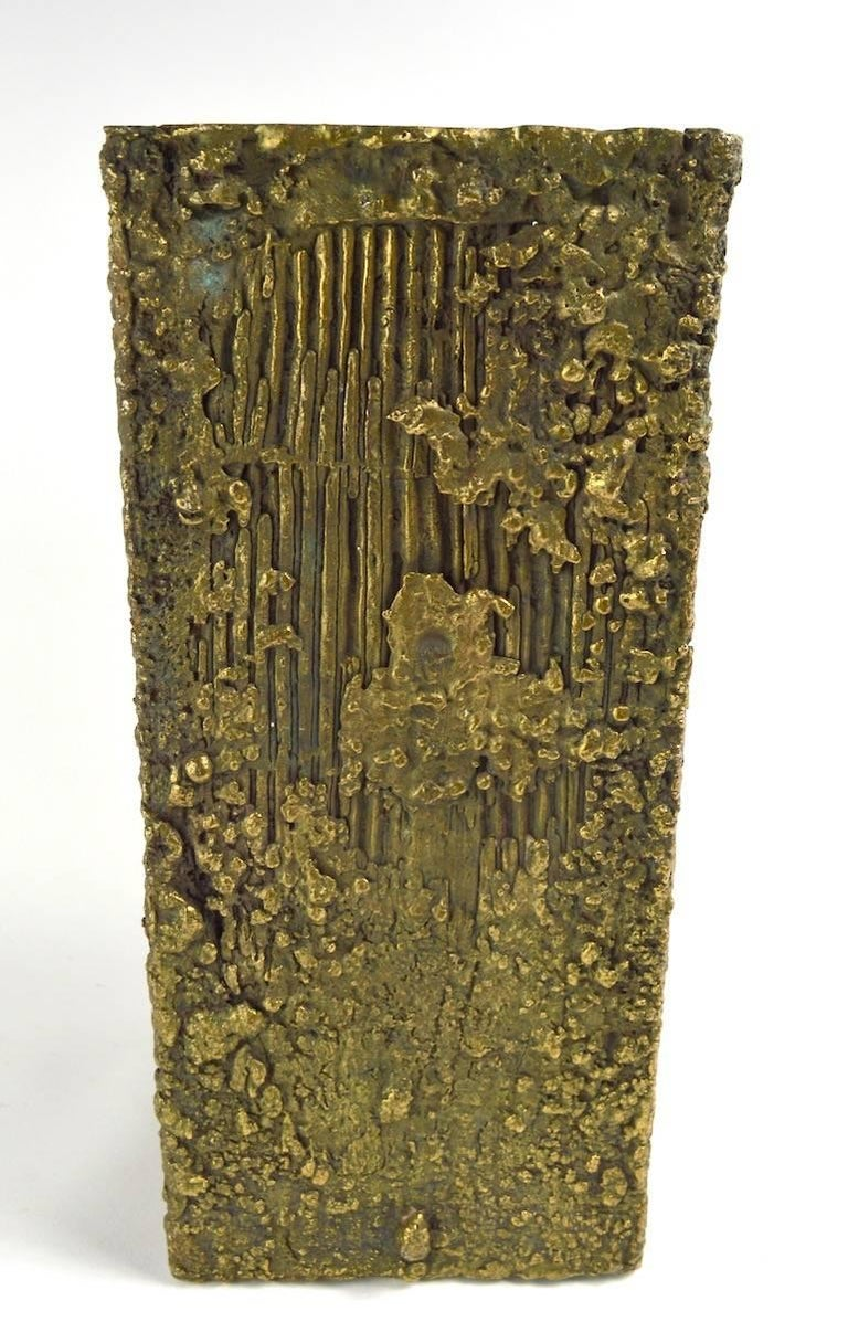 American Brutalist Bronze Sculpture Vase Pedestal Attributed to Paul Evans For Sale