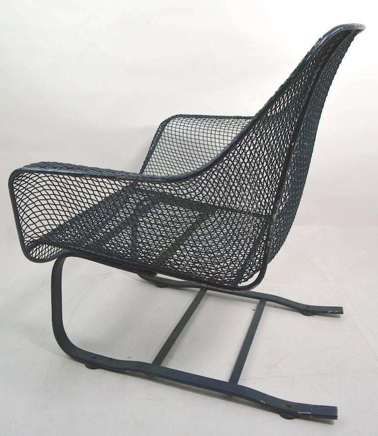 Wrought Iron Cantilevered Lounge Chair by Woodard For Sale