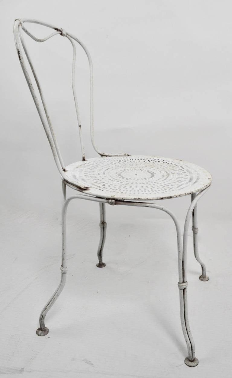 Art Nouveau Set of Four Iron Garden Cafe Chairs For Sale
