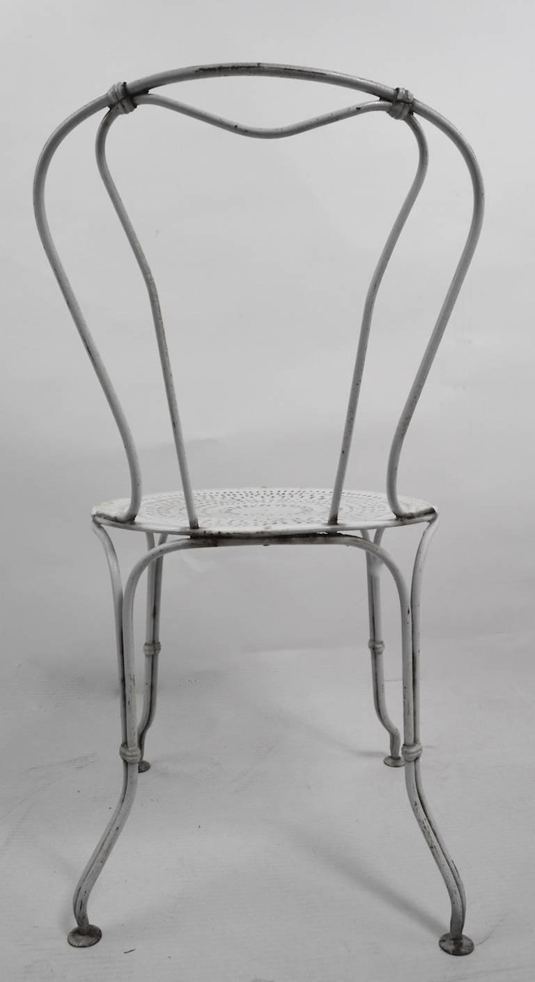 American Set of Four Iron Garden Cafe Chairs For Sale