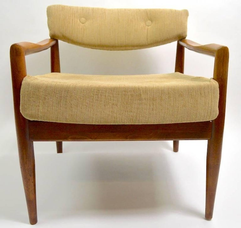 Pair of Adrian Pearsall model 834- C lounge chairs for Craft Associates. Structurally sound and sturdy, these will need reupholstery, wood finish ( original ) shows cosmetic wear, usable as is, or have refinished to perfection. Selling as is, we