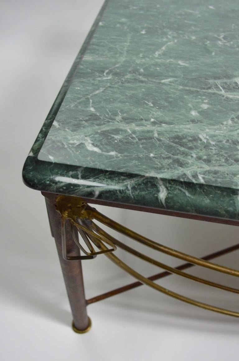 Marble Brass and Steel Coffee Table after Ilana Goor For Sale 4