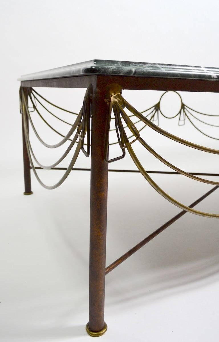 Marble Brass and Steel Coffee Table after Ilana Goor For Sale 3
