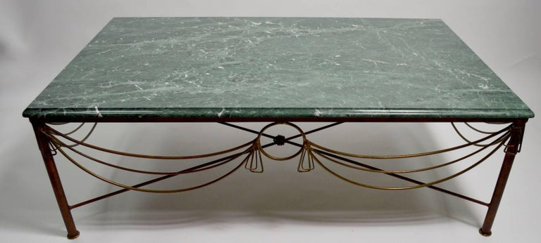 Marble Brass and Steel Coffee Table after Ilana Goor For Sale 1