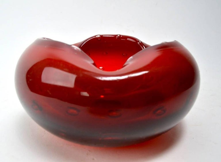 Italian Murano Ashtray in Red with Controlled Bubbles For Sale