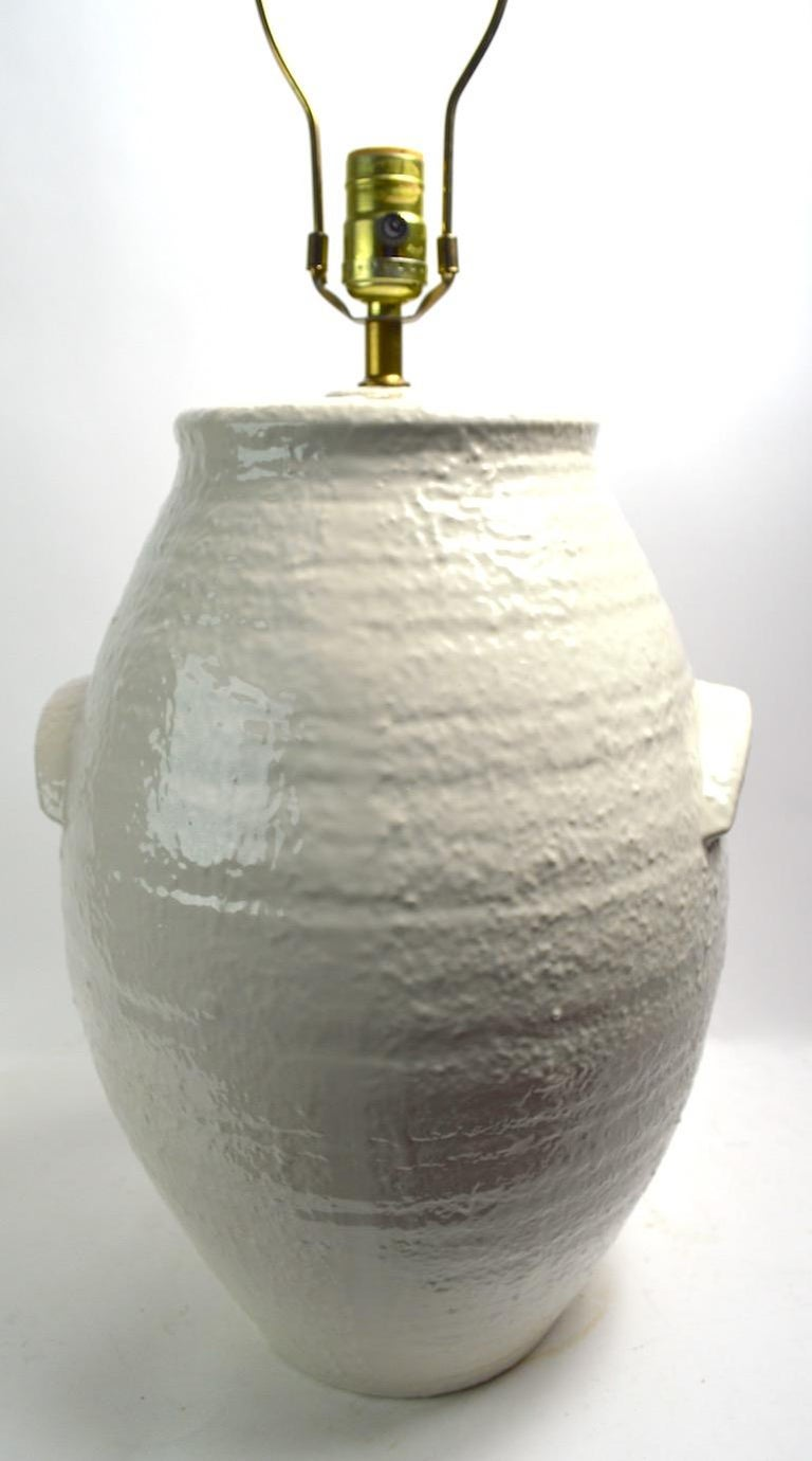 Pair of Ceramic White on White Jar Form Table Lamps For Sale 1