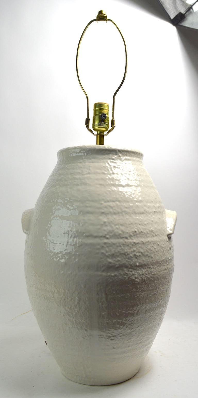 Pair of Ceramic White on White Jar Form Table Lamps For Sale 2