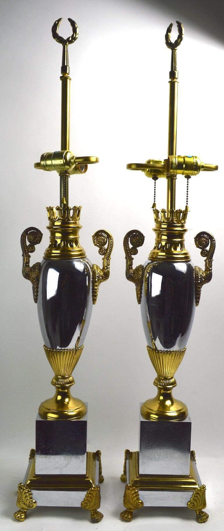 Pair of Hollywood Regency Lamps by Tyndale For Sale 10