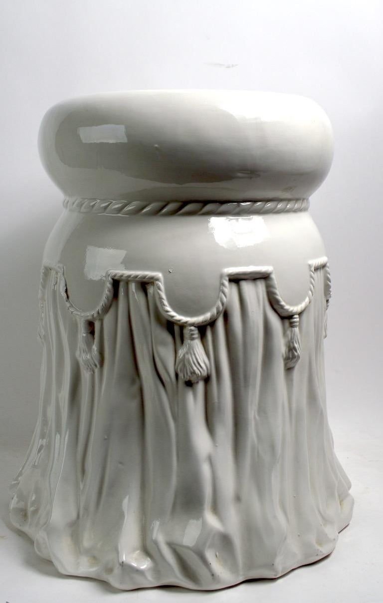 Ceramic Tassel Table or Plant Stand Probably Italian For Sale 2