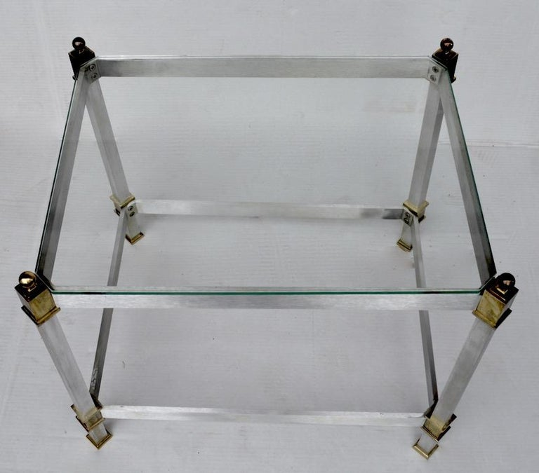 Hollywood Regency Pair of Classical Aluminum Brass and Glass Tables Attributed to Maison Jansen For Sale