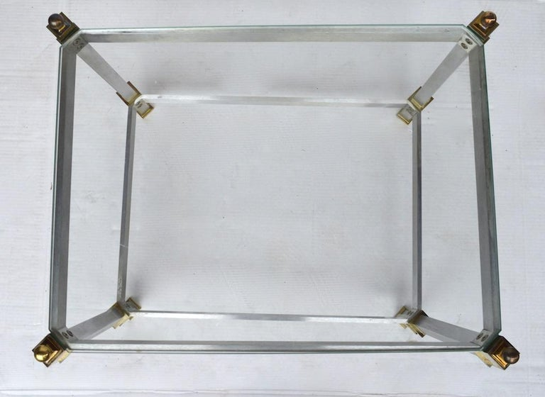 20th Century Pair of Classical Aluminum Brass and Glass Tables Attributed to Maison Jansen For Sale