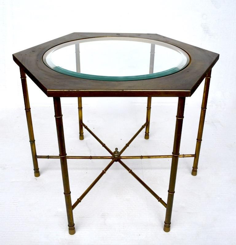 Hollywood Regency Pair of Hexagonal Brass and Glass Tables For Sale